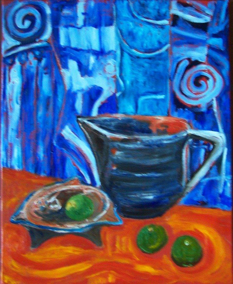 Blue milk jug